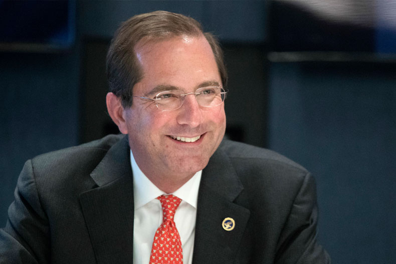 In this Wednesday, Sept. 12, 2018, photo Health & Human Services Secretary Alex Azar smiles during an interview with The Associated Press in New York. (AP Photo/Mary Altaffer)