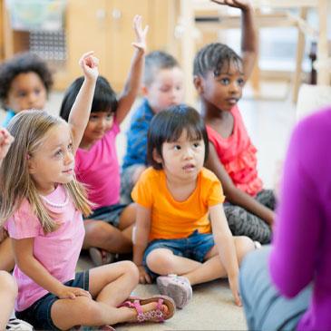Stock photo of preschool children in the classroom