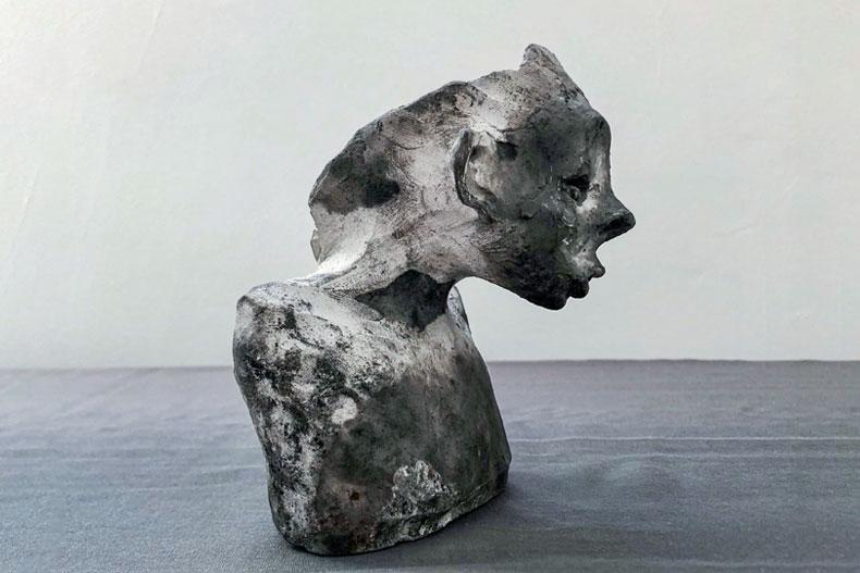 """Donkey Eyes, 2020, Ceramic and Saggar, 9.84""""x7.08""""x4.33"""" Sculpted by Sepideh Kalani"""
