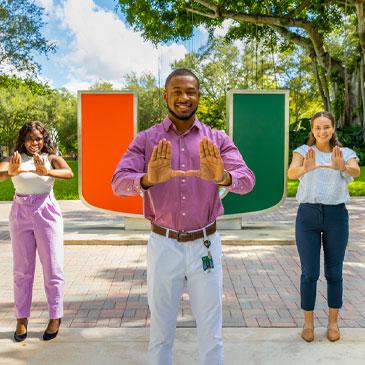 The UPROAR student government administration: Ajiri Uzere, Landon Coles, and Grace Tenke. Photo: TJ Lievonen/University of Miami