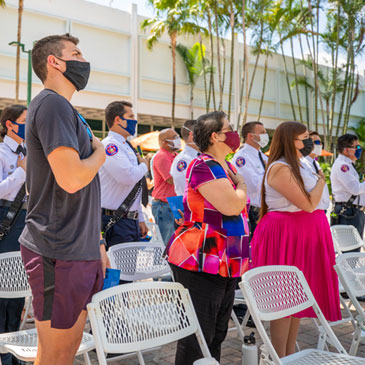 Members of the University community attend an event at the UC Rock Plaza to honor the 20th anniversary of 9/11. Photo: Mike Montero/University of Miami