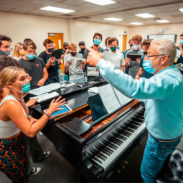 """Theatre Arts students rehearse for """"The Frogs"""" with senior lecturer David Williams. Photo: Mike Montero/University of Miami"""