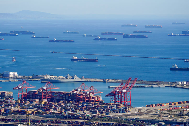 Cargo ships are seen lined up outside the Port of Los Angeles. (AP Photo/Mark J. Terrill)