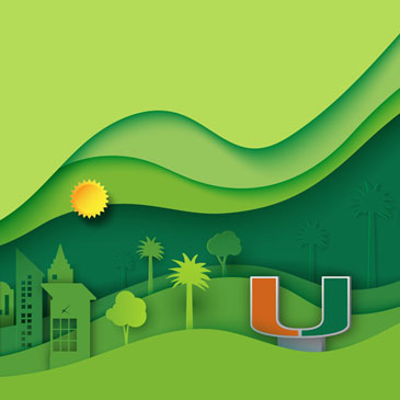 Illustration of a green cityscape with the U branding