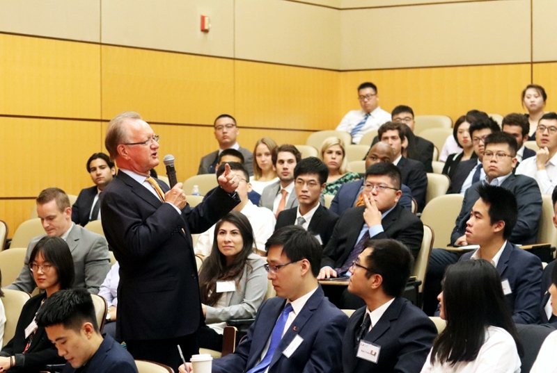 Dean Quelch welcomes new students during the Master of Science in Finance orientation in August 2019