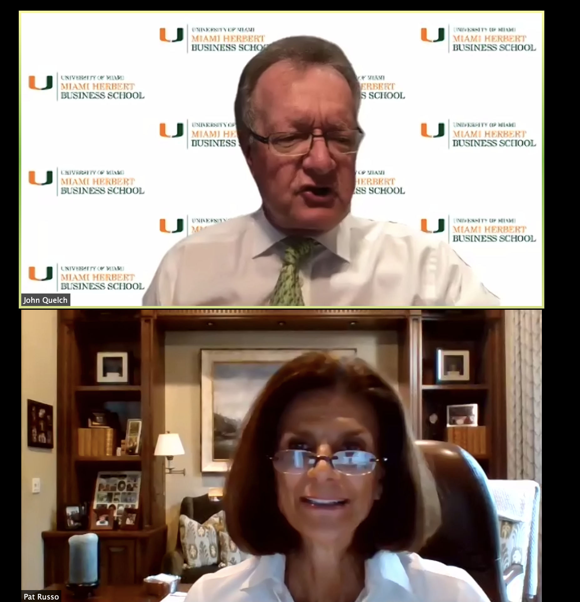 Screenshot of virtual lecture featuring Pat Russo with Miami Herbert Dean John Quelch
