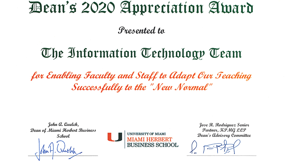 Miami Herbert IT team recognized for COVID response